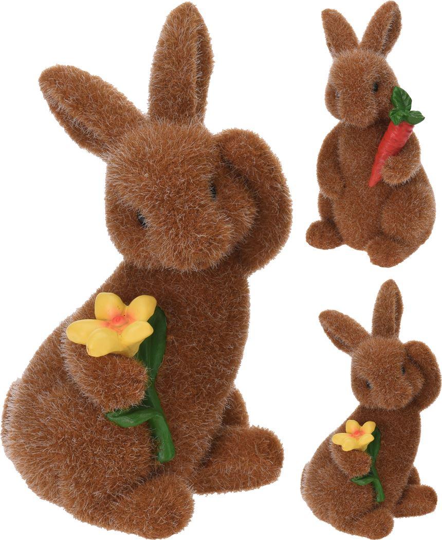 konijn flocked bruin (2ass.)
