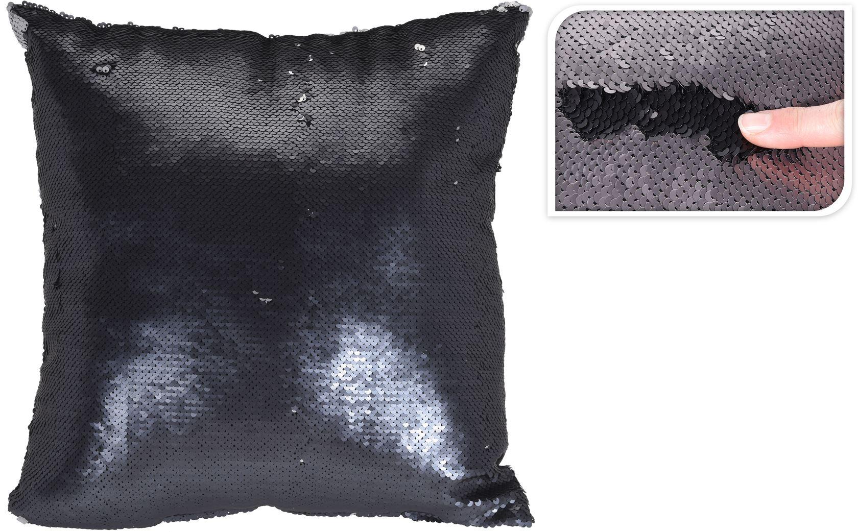 kussen pailletten donkerblauw/zilver