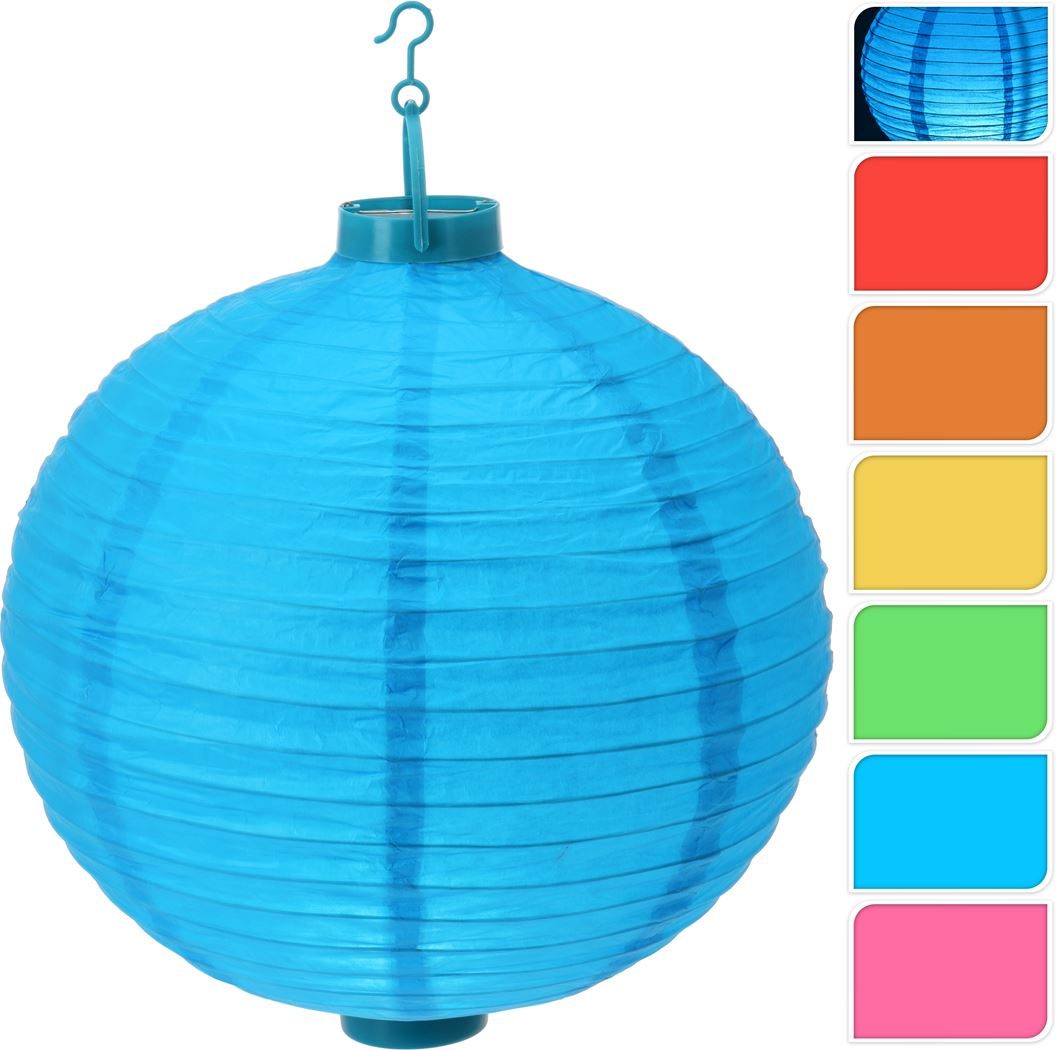 lampion papier met 1 led (6 kleuren ass.)(b/o)
