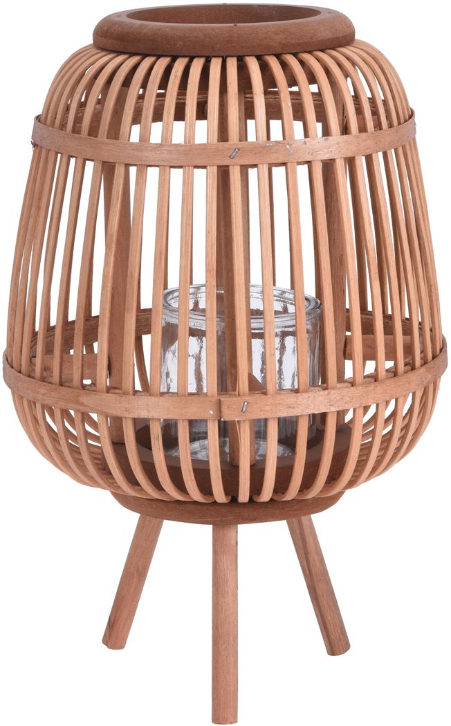 lantaarn bamboe tafel model bruin