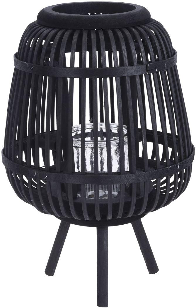 lantaarn bamboe tafel model zwart