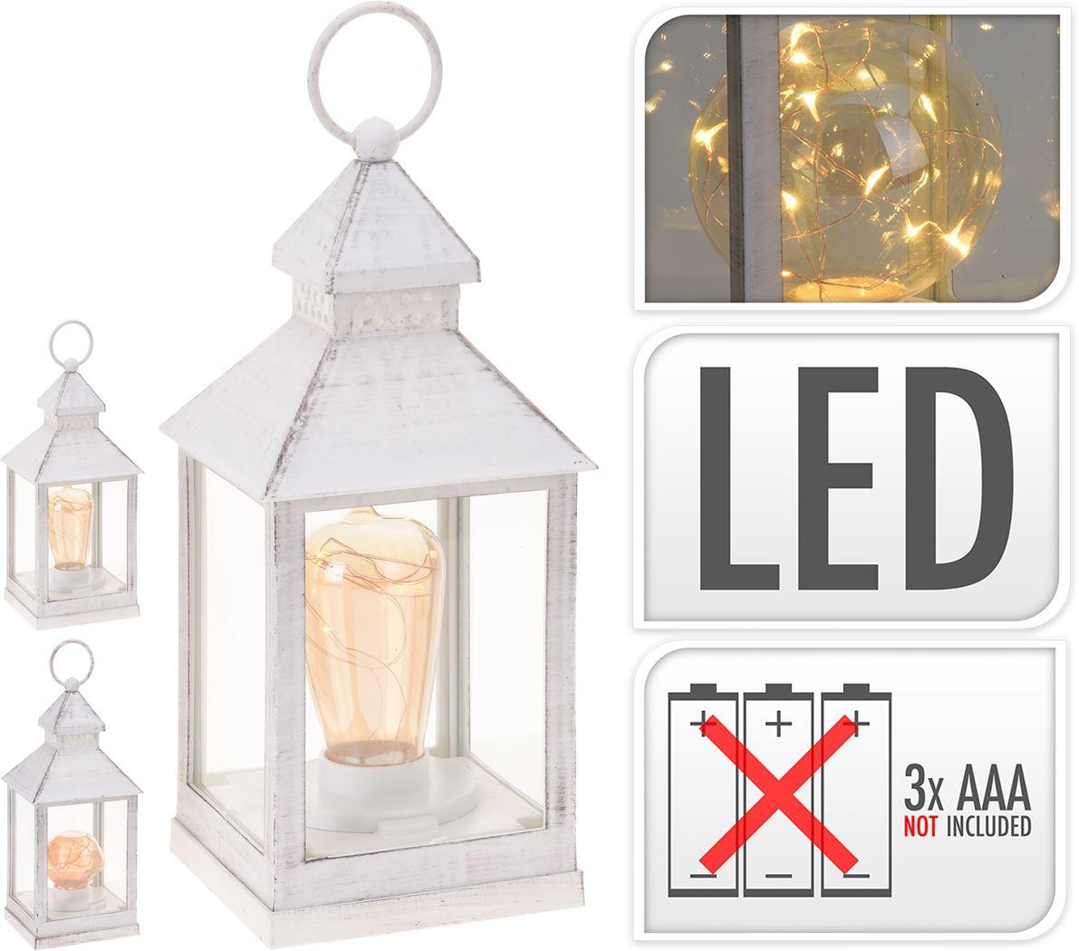 lantaarn met lamp wit (3ass.)