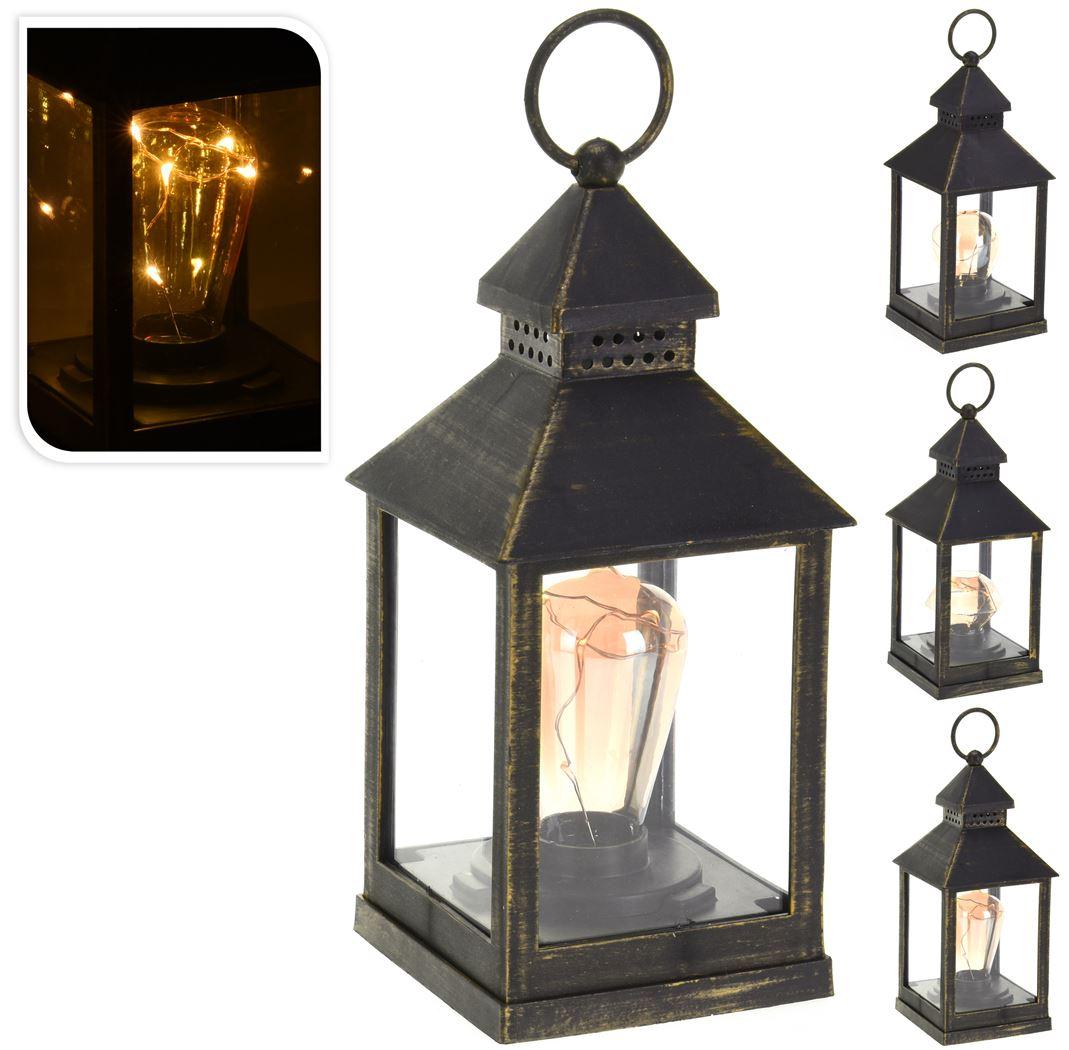 lantaarn met lamp zwart (3ass.)