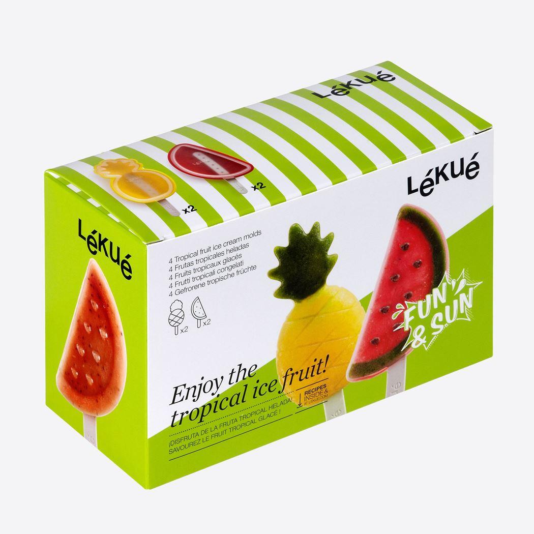lékué ijsjesvormen uit silicone en kunststof ananas en watermeloen (4sts)