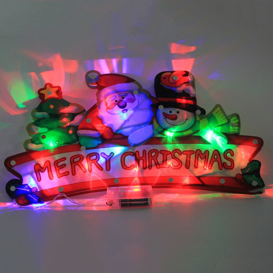 lighted ornament merry christmas red led (b/o)