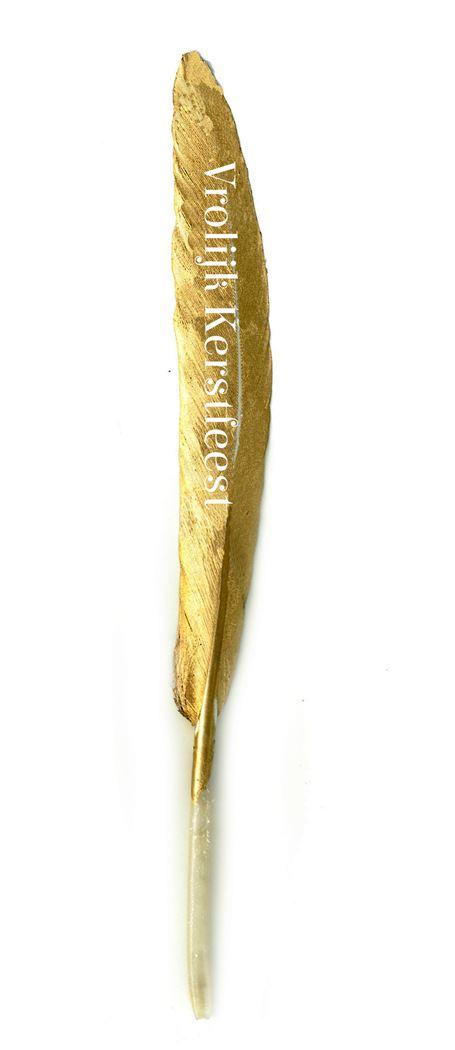 little wish feather vrolijk kerstfeest goud (10sts)