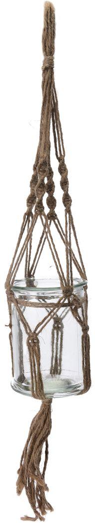 macrame bloempot glas met touw