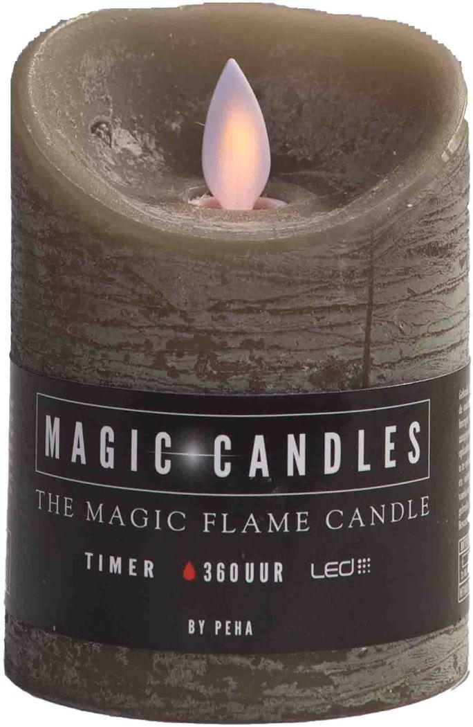 magic flame kaars beige