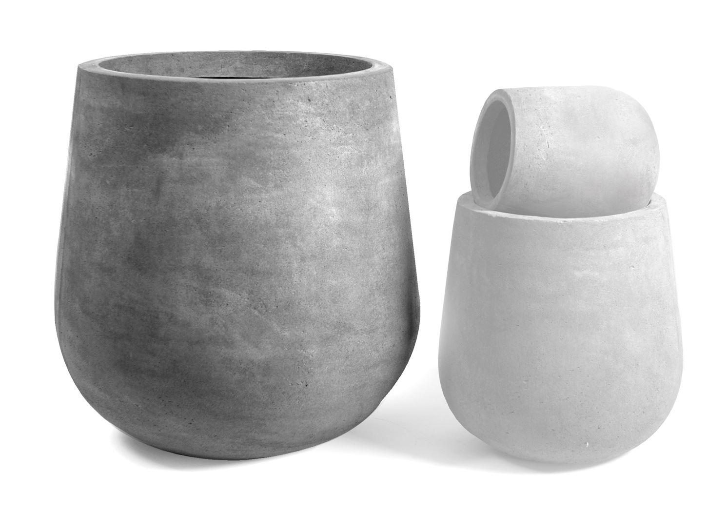 clayfibre bloempot cauldron cement