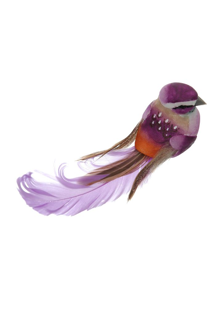 medium bird on clip purple