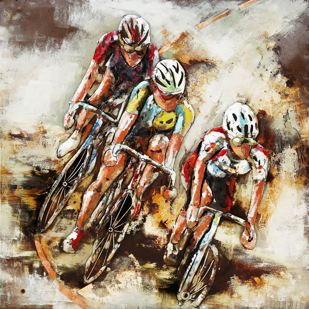 metal painting cyclists indoor