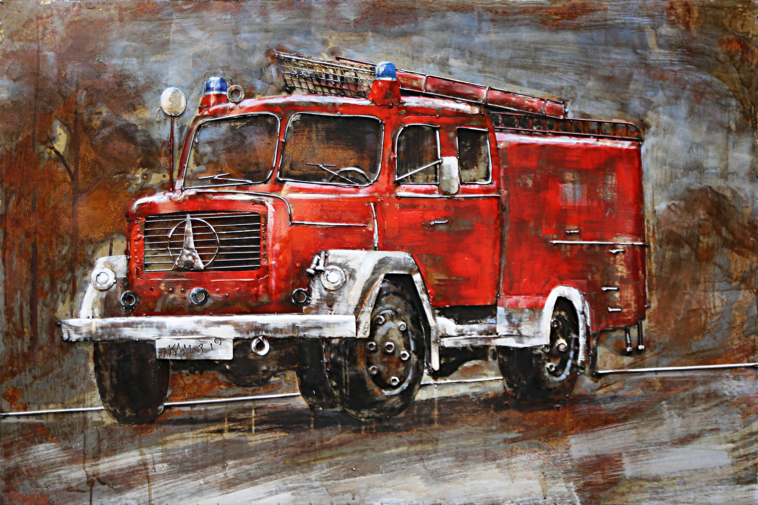 metal painting firetruck indoor