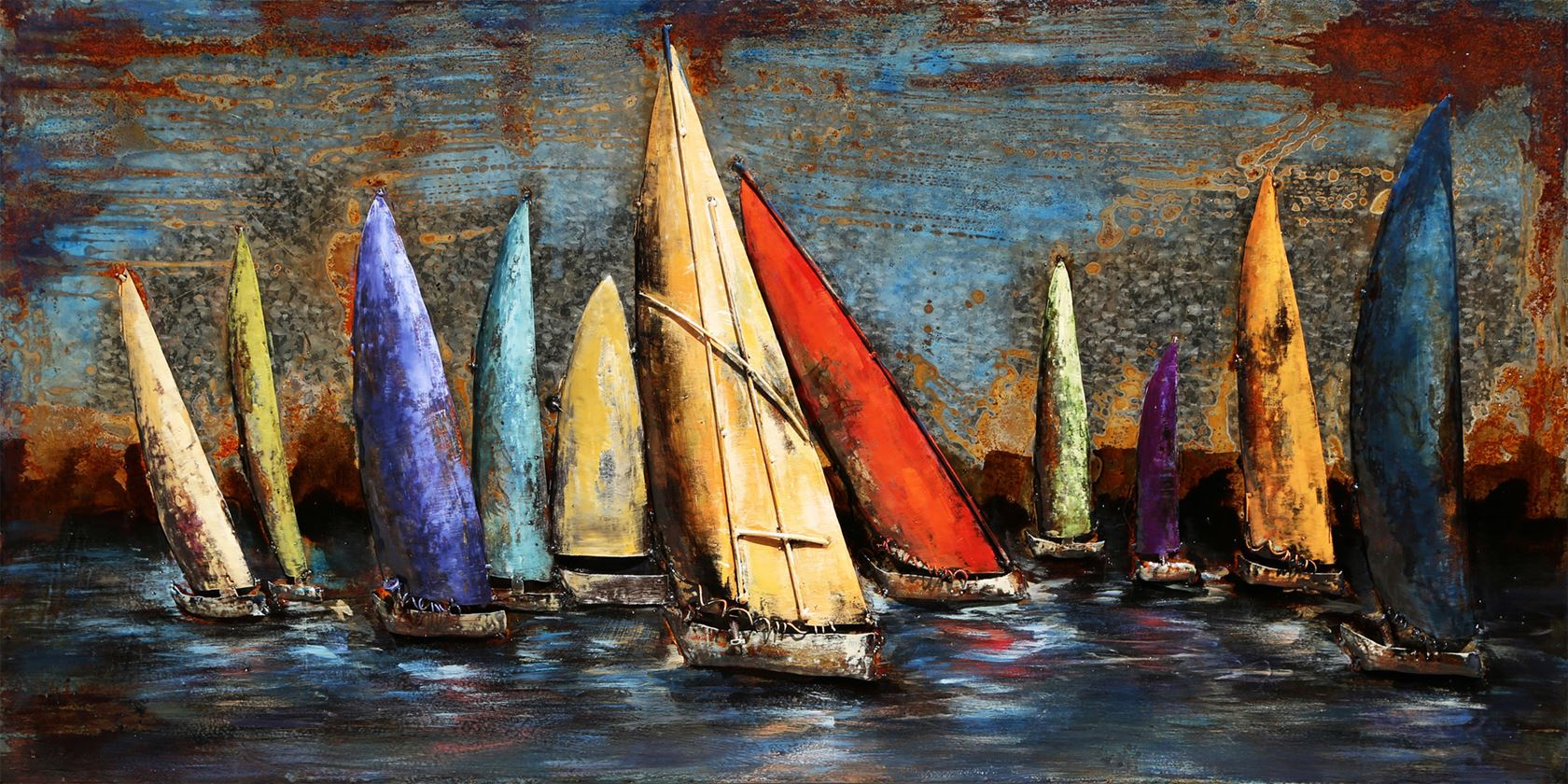 metal painting sailing boats indoor