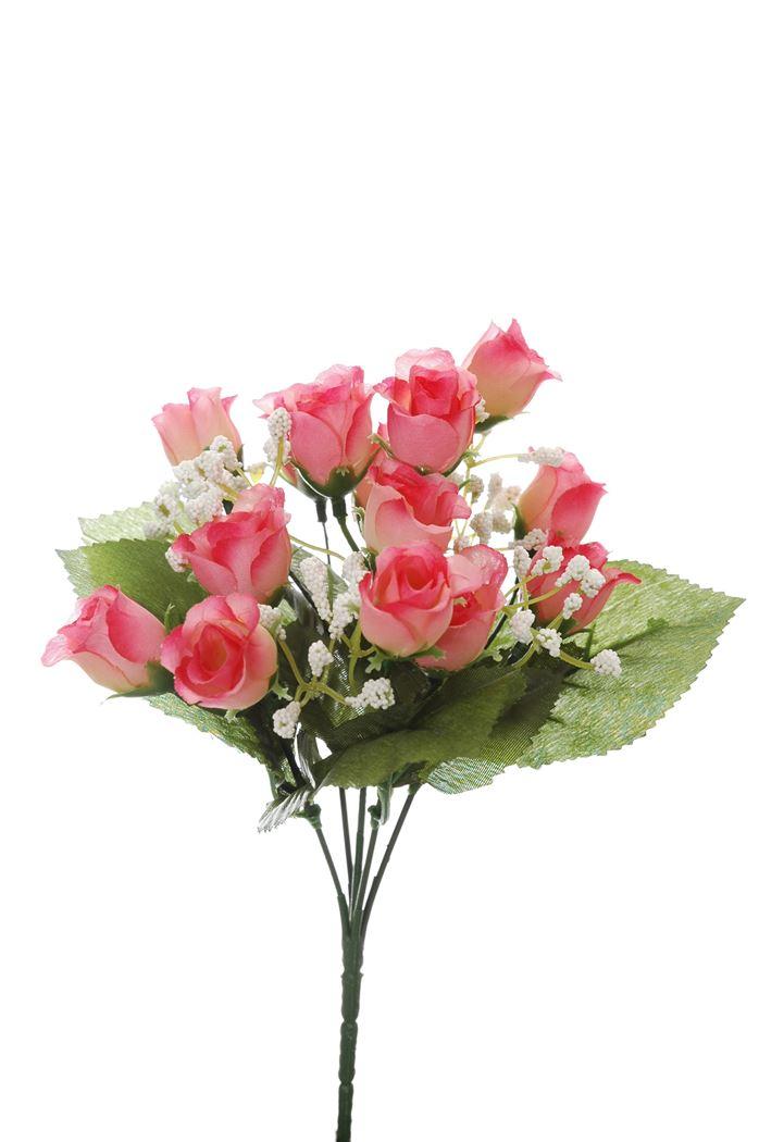 mini rose bud bush x 5 pink