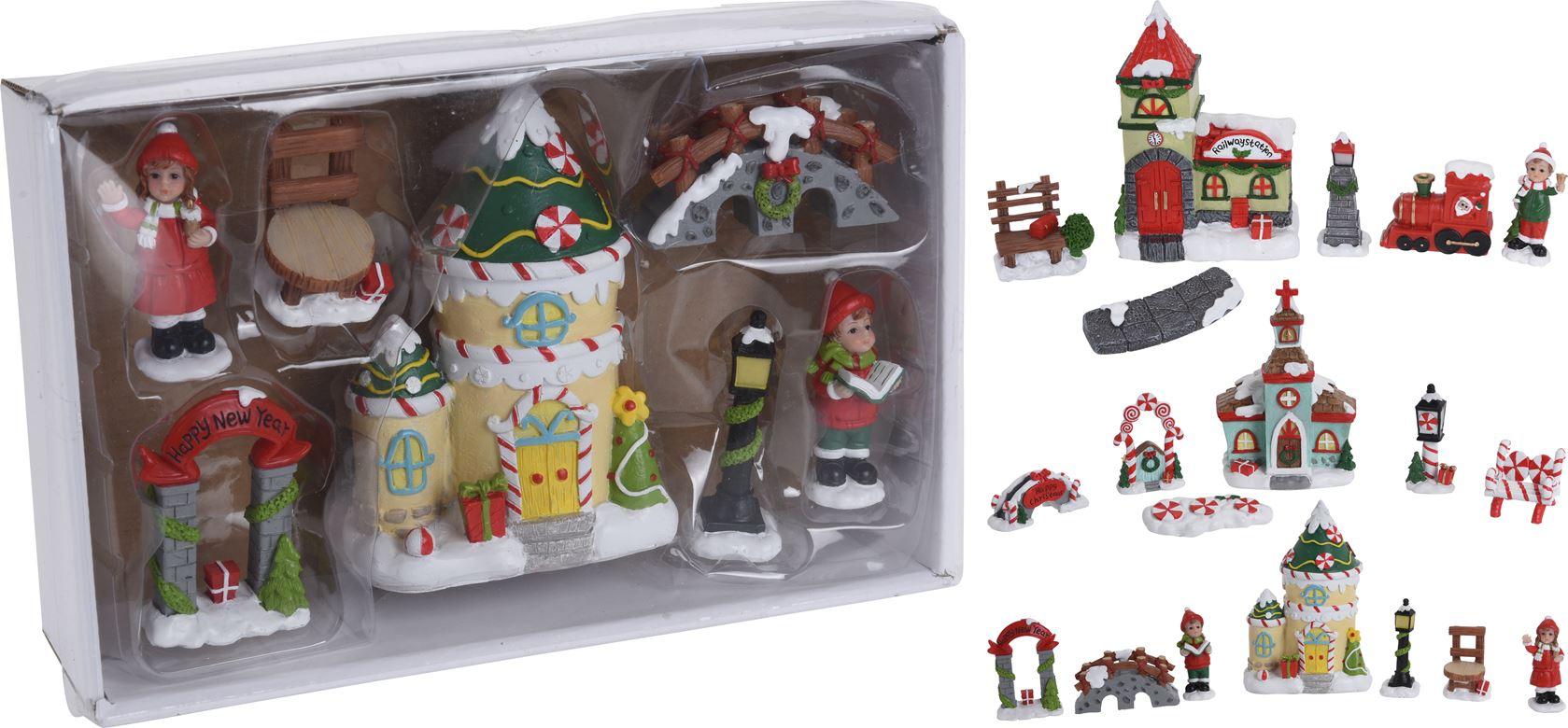 miniatuur set kerst (6sts)(3ass.)