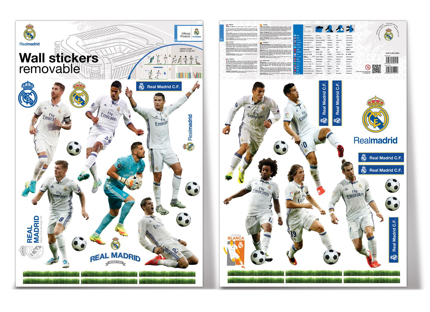 muurdeco - real madrid 12 players 2 sheets a3