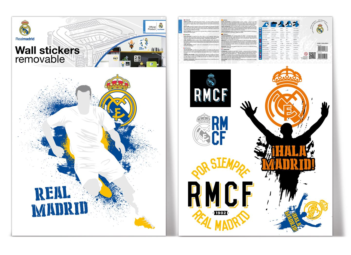 muurdeco - real madrid logo urban 2 sheets a3