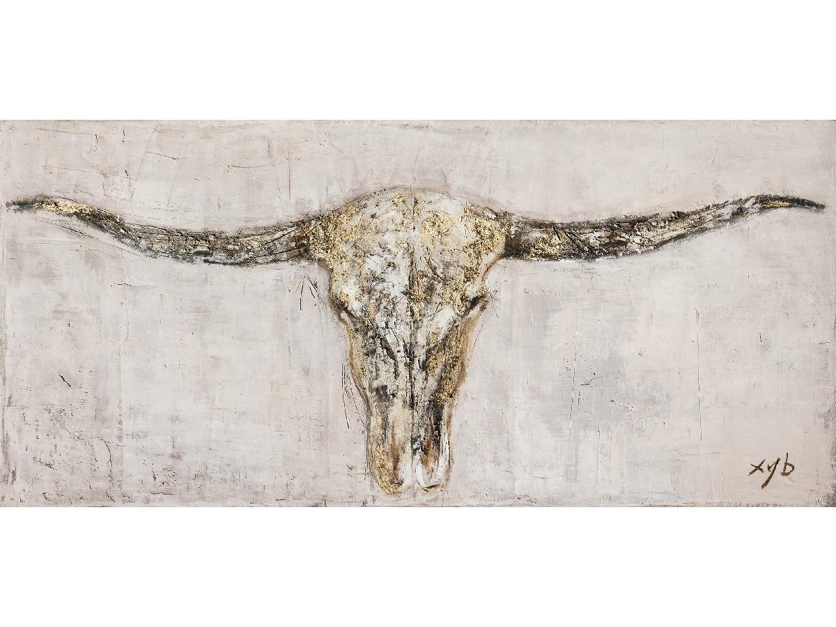 oil painting animal skull indoor
