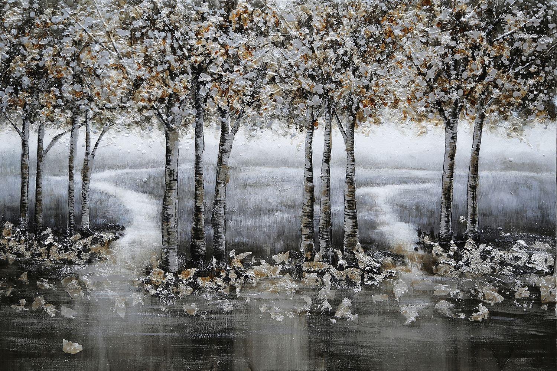 oil painting bomen grijs indoor