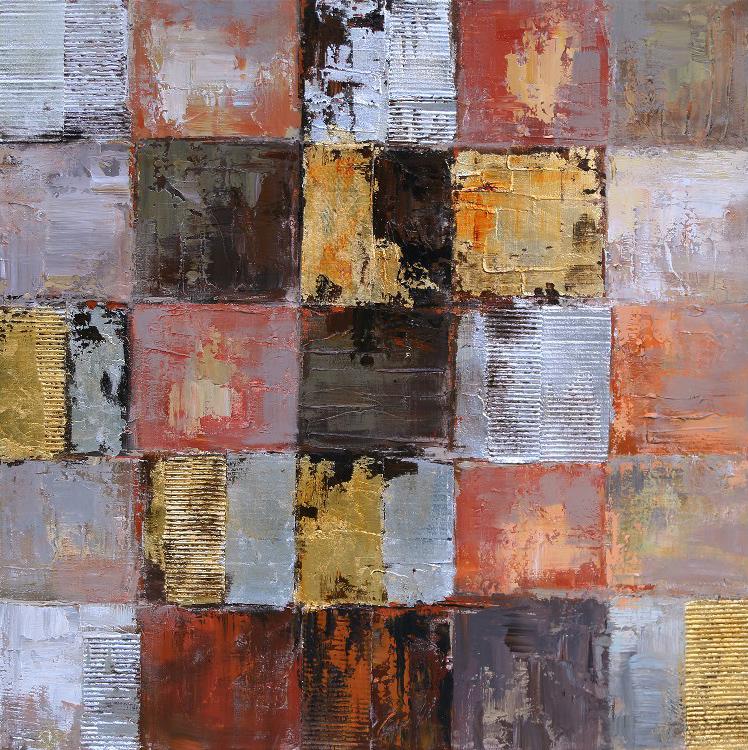 oil painting oranje vierkanten indoor