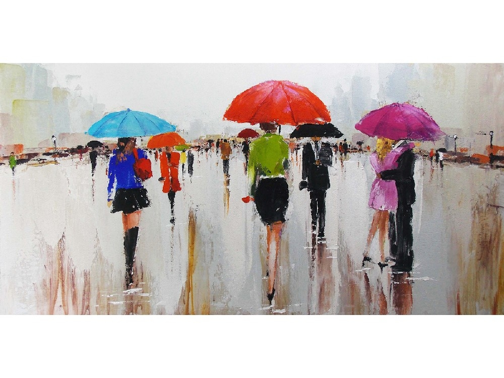 oil painting people with umbrella indoor