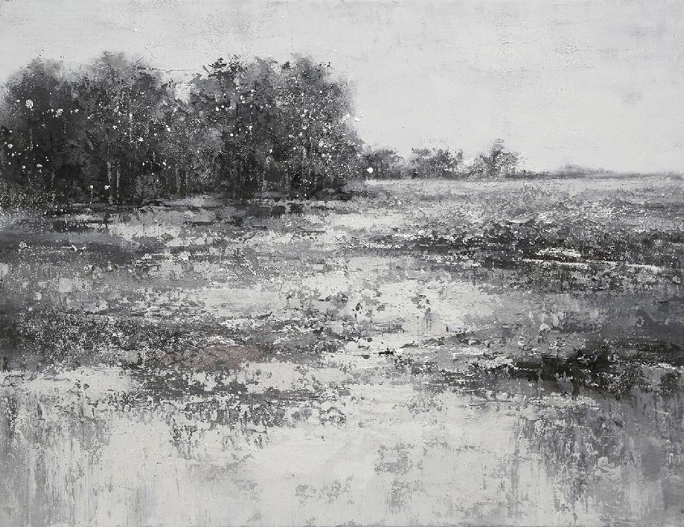 oil painting zwart-witte heide indoor
