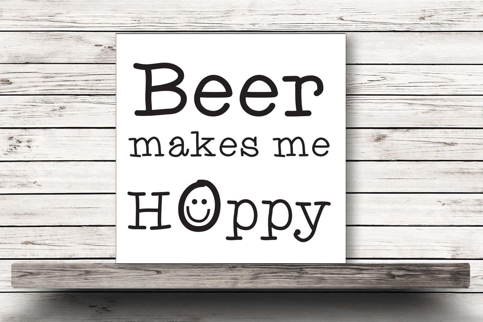 onderzetter wit - beer makes me hoppy