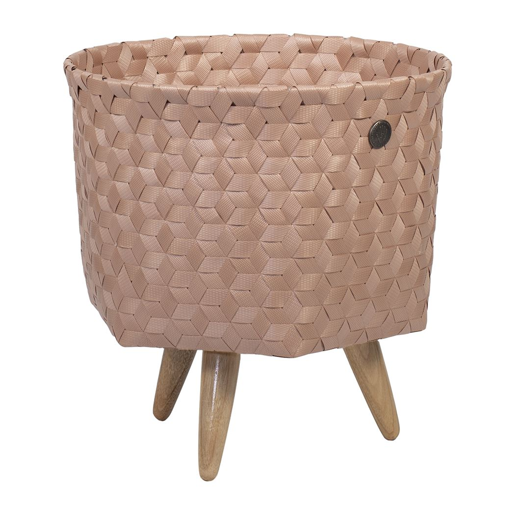 open round basket copper blush size s with feet