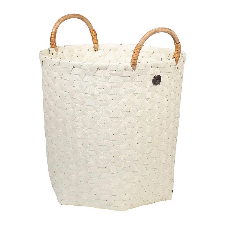 open round basket ecru white size m with rattan handles