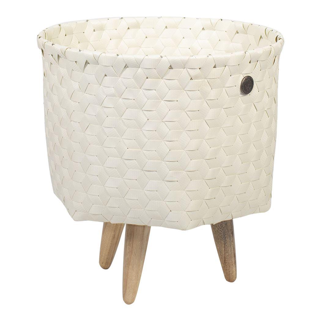 open round basket ecru white size s with feet