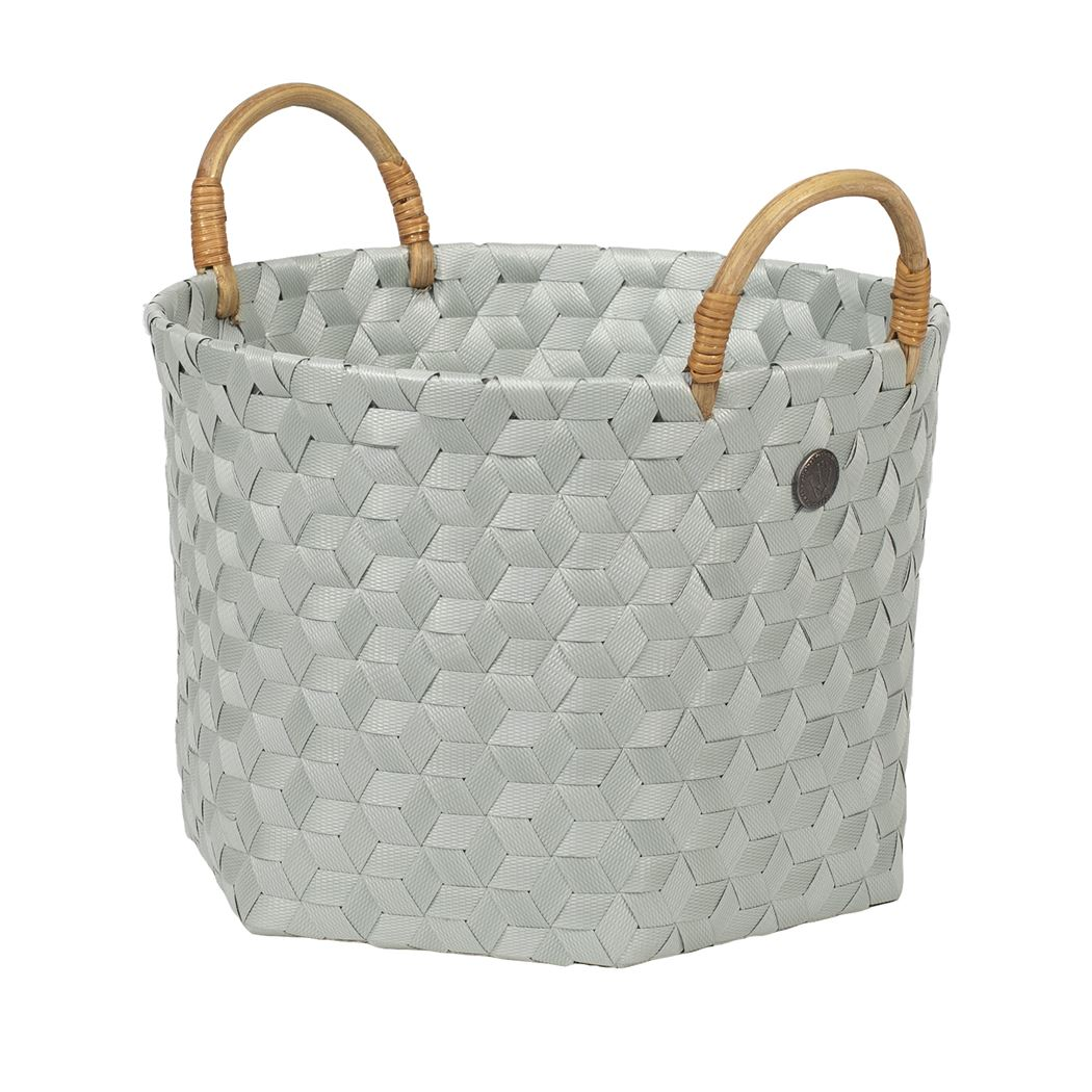 open round basket eucalyptus size s with rattan handles