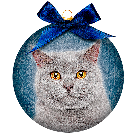 ornament frosted kat grijs brits
