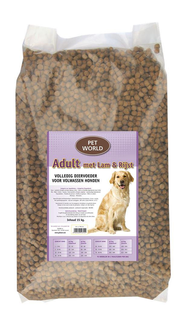 pet world hondenvoer adult met lam en rijst
