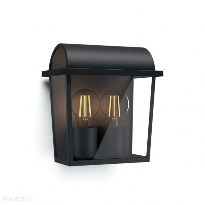 philips harvest wall lantern black excl. 2x42w 230v