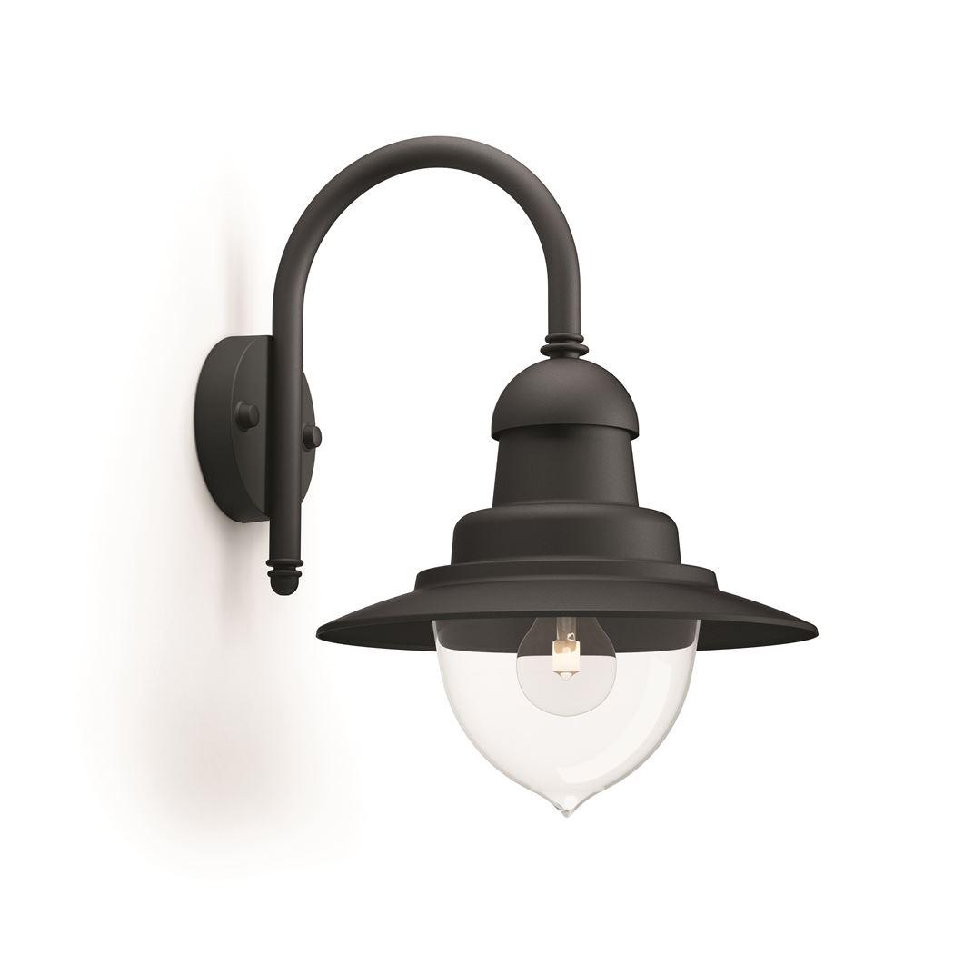 philips raindrop wall lantern halo black 1x60w 230v