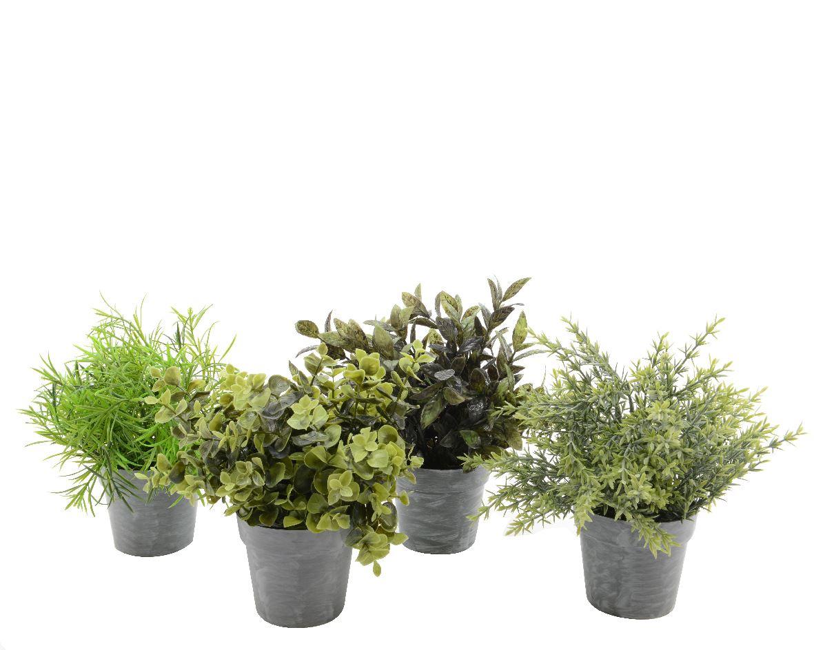 plant in pot polyester groen (4ass.)