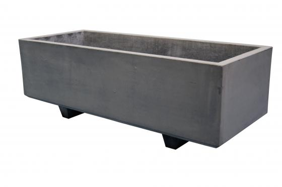 plantenbak rechthoek xl betongrijs met 2 voeten 10cm