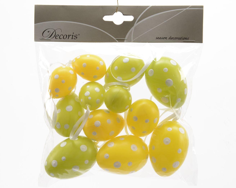 plastic ei met hanger buiten (12sts)(2 kleuren ass