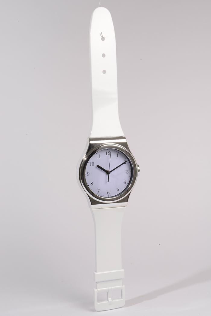 plastic klok horloge wit