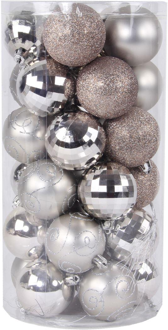 plastieken kerstbal lichtgrijs (30sts)