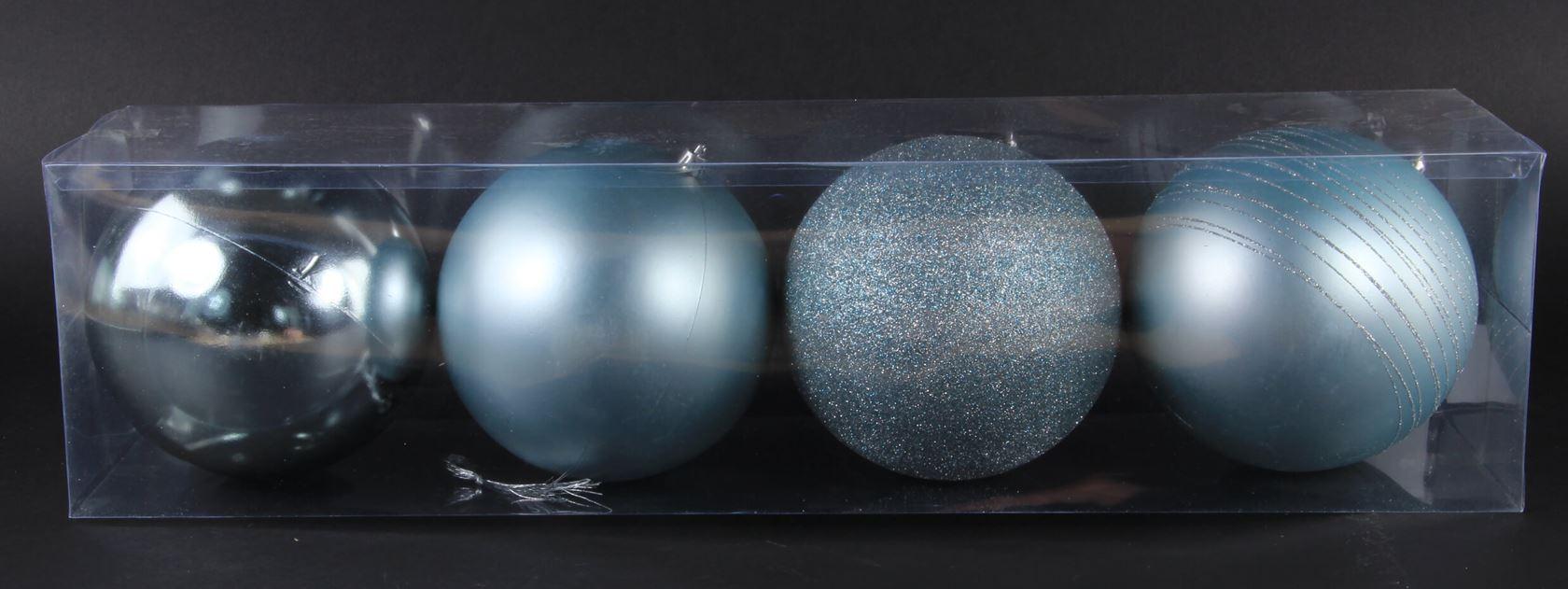 plastieken kerstbal lichtgrijs (4sts)