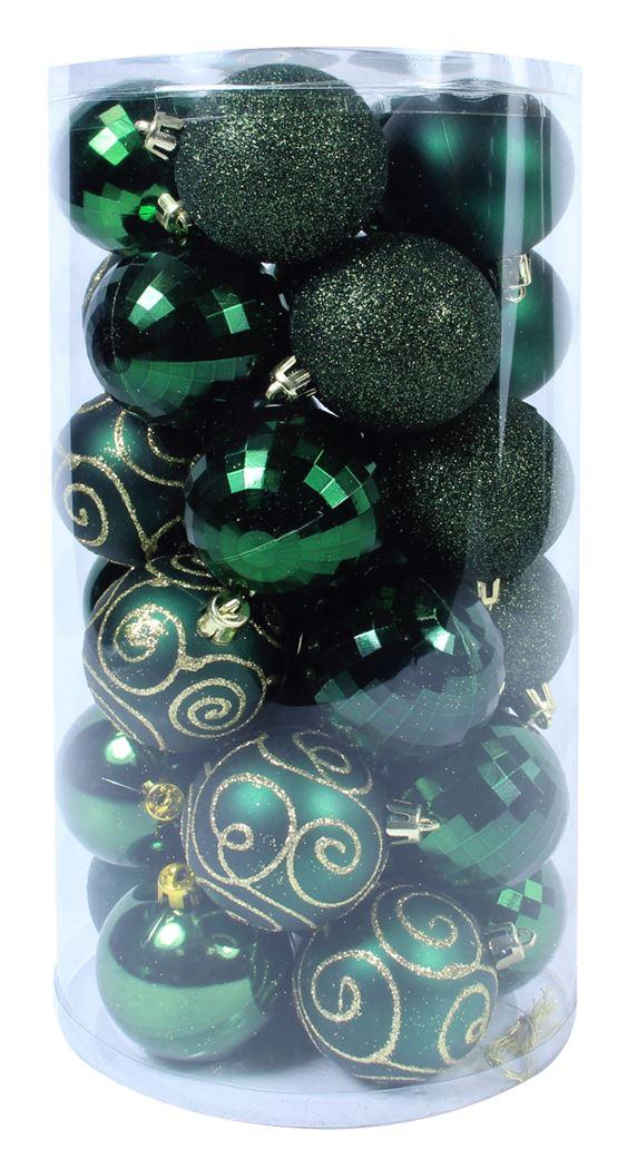 plastieken kerstbal woudgroen (30sts)