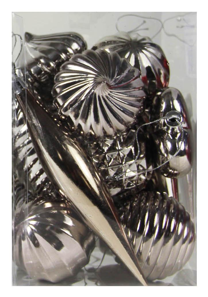 plastieken kerstvormen lichtgrijs (14sts)