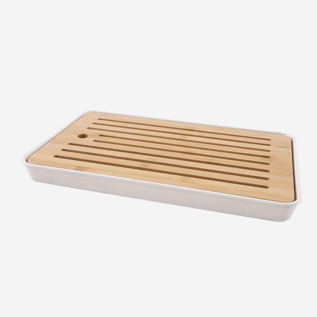 point-virgule bamboe broodplank & bamboevezel opvangbak wit