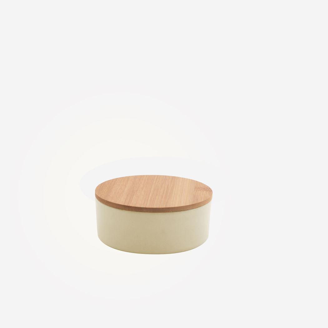 point-virgule kleine voorraaddoos uit bamboevezel gebroken wit
