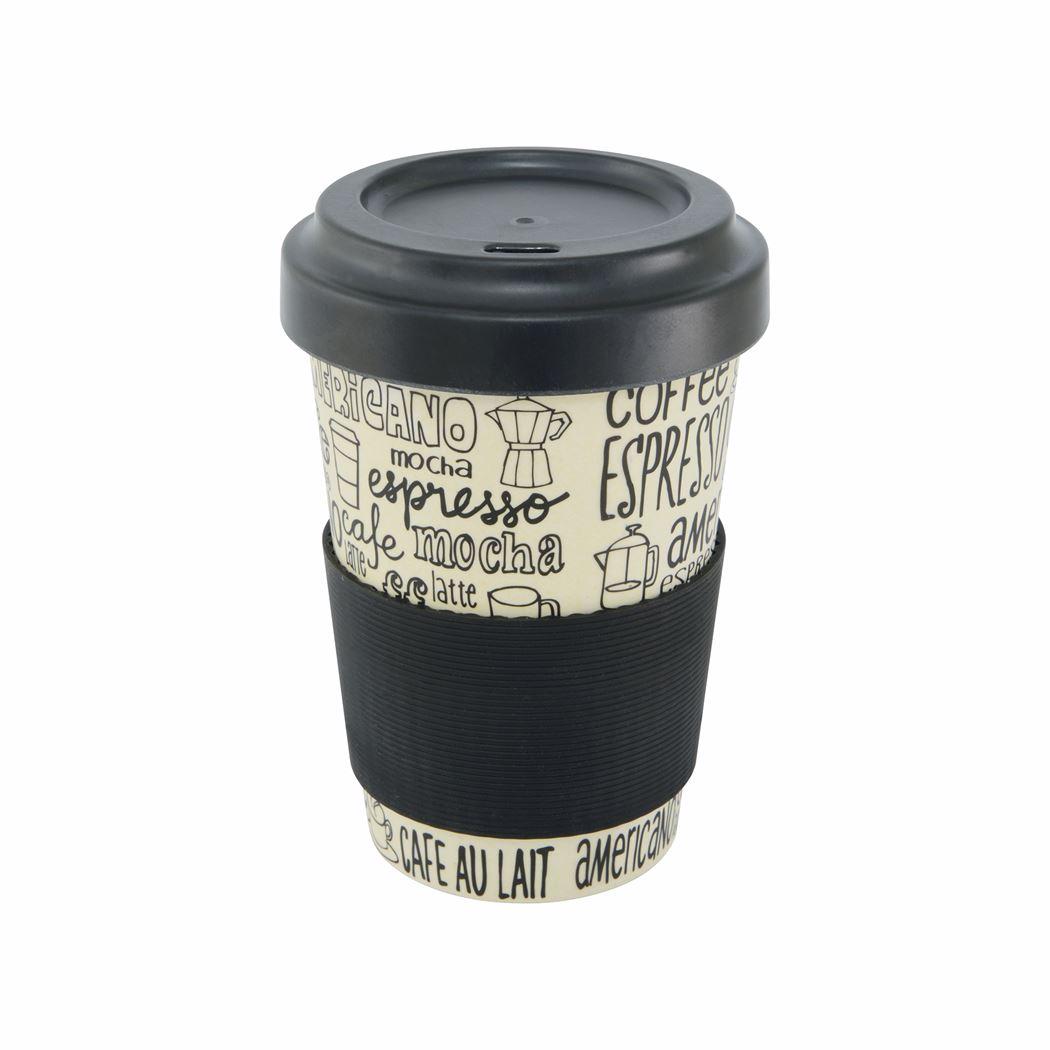 point-virgule reisbeker bamboevezel - deksel en anti-slipband coffee