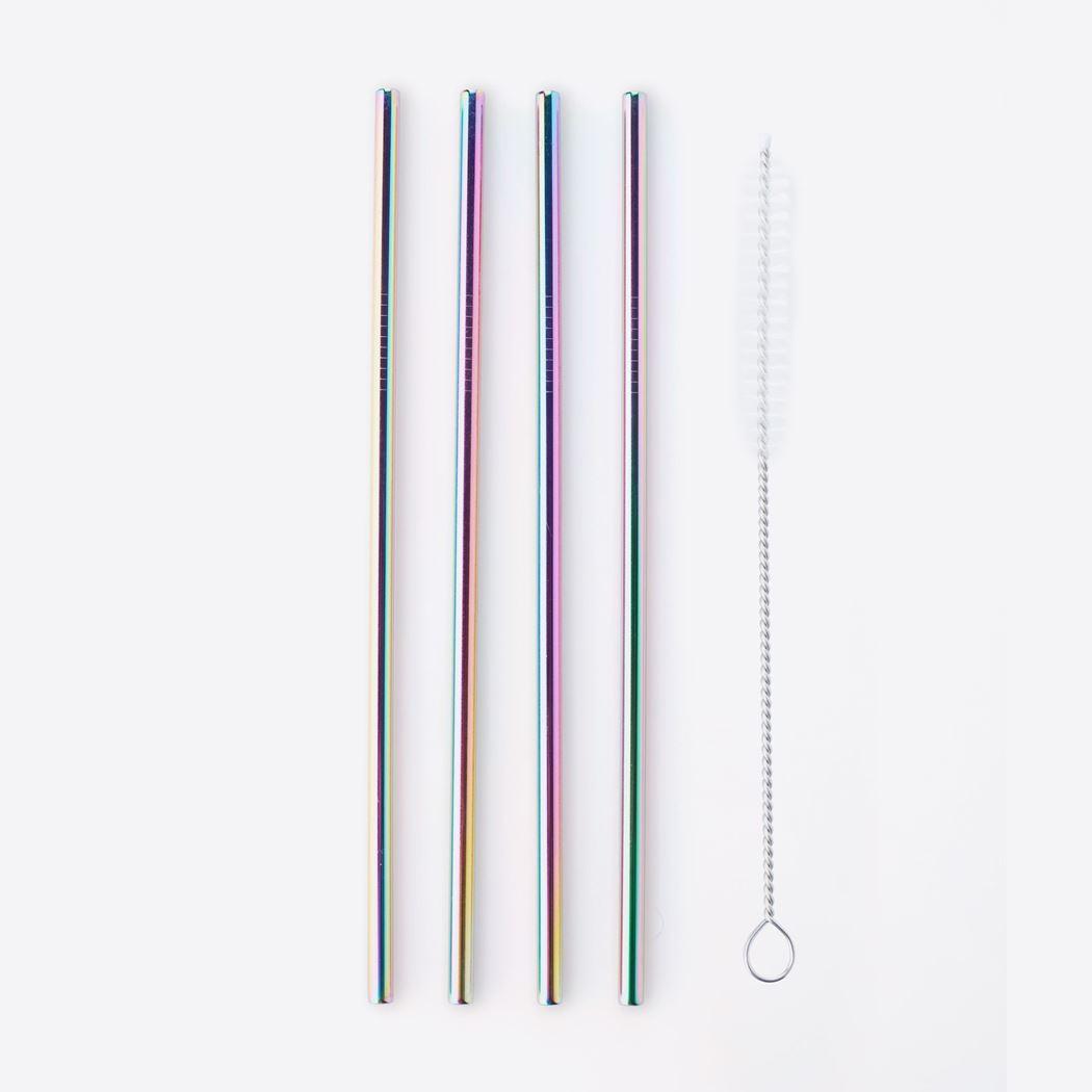 point-virgule set cocktailrietjes uit rvs regenboog met reinigingsborstel (4sts)