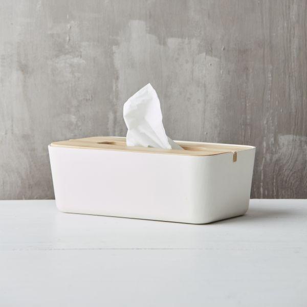 point-virgule zakdoekendoos uit bamboevezel gebroken wit