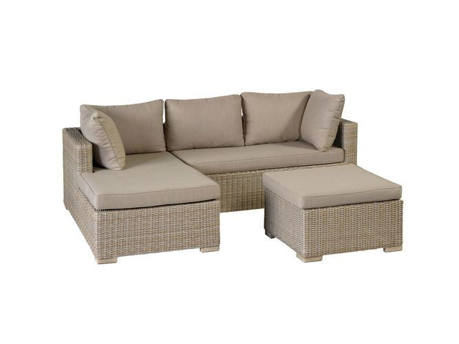 pol sienna lounge chaise longue rechts zand grijs wicker en 1 hocker incl. kussens