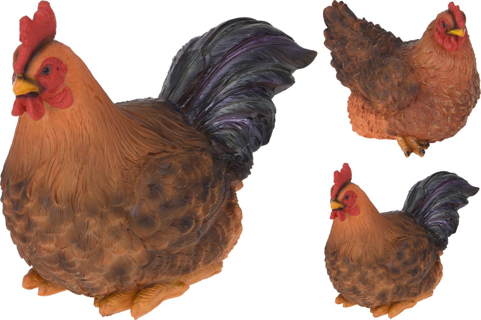 polystone haan en kip zittend (2ass.)